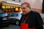 Cardinal Burke leaves concluding session of extraordinary Synod of Bishops on the family at Vatican